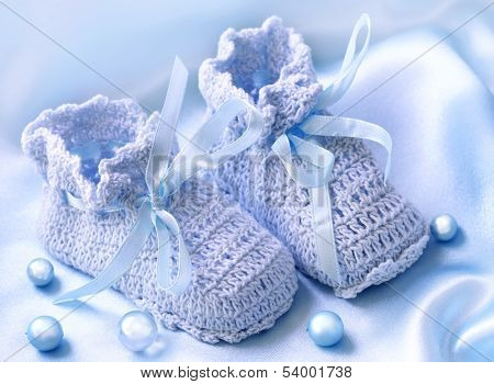 Handmade  pink baby  booties with pearls