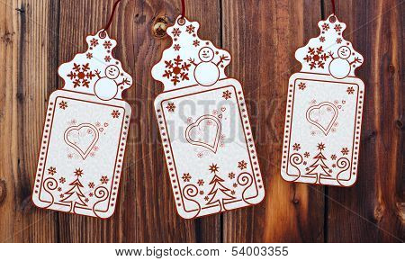 Three Christmas Cards With Heart Sign