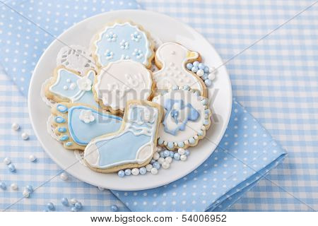 Baby cookies on a white plate
