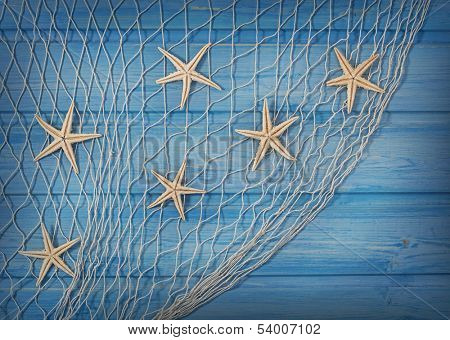 Seastars on the fishing net on a blue background
