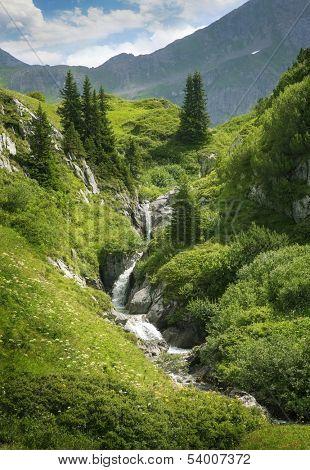 Mountains landscape in Vorarlberg, Austria