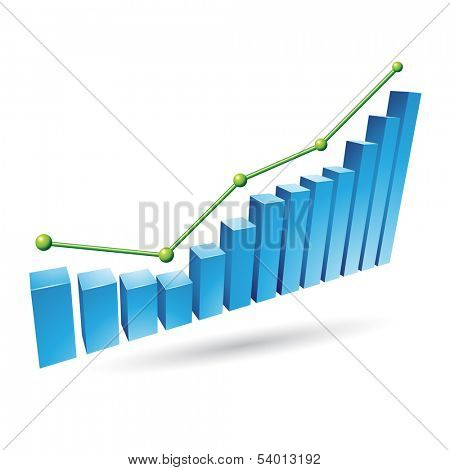 Illustration of Blue Stats Graph isolated on a white background poster