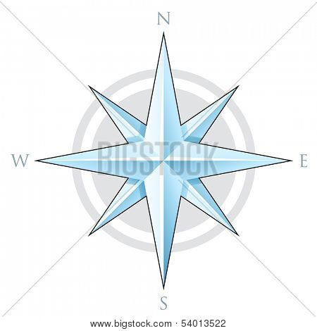 Illustration of Blue Compass Star isolated on a white background poster