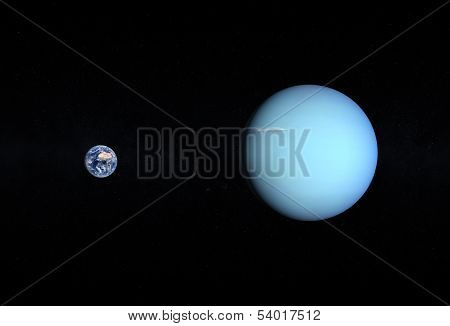 Planets Earth And Uranus