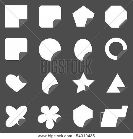Set Of Corner Lebel Gray Color Icons