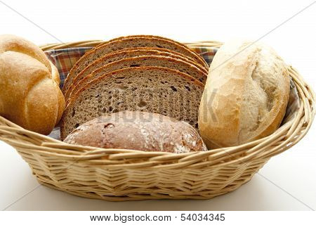 Fresh Baked Bread with Bread Rolls in Basket