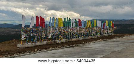 Buryat Traditional Pagan Holy Poles Over The Hills Of Buryatia