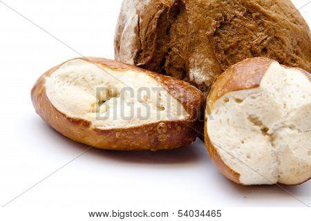 Lye bread rolls with bread