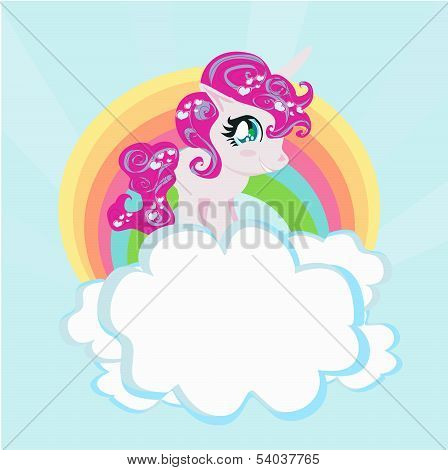 Card With A Cute Unicorn Rainbow In The Clouds.