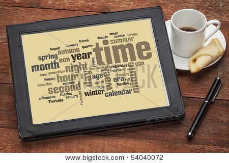 time concept - cloud of words related to time units and calendar from seconds to months, years and eons on a digital tablet