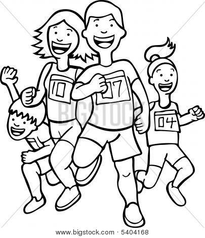 Family Run Line Art