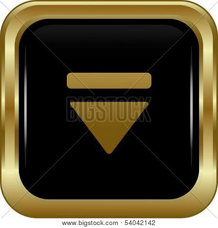 Black gold bottom button. Abstract vector illustration. poster