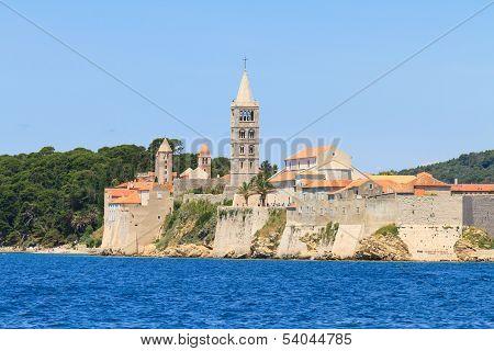 Croatian Island Of Rab, View On City And Fortifications, Croatia