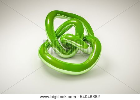An image of an abstract green metal knot