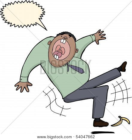 Businessman Slipping On Banana