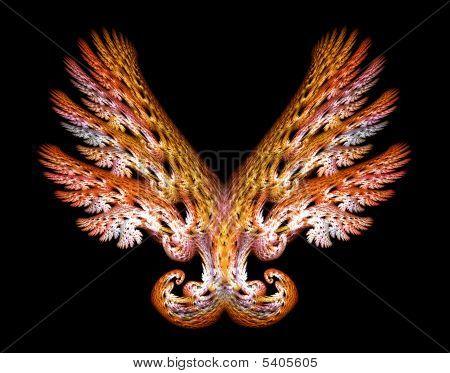 Gold Angel Wings Emblem Over Black