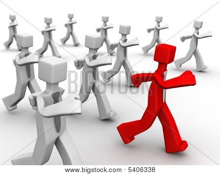 Red leader leading group of businessman 3d illustration poster
