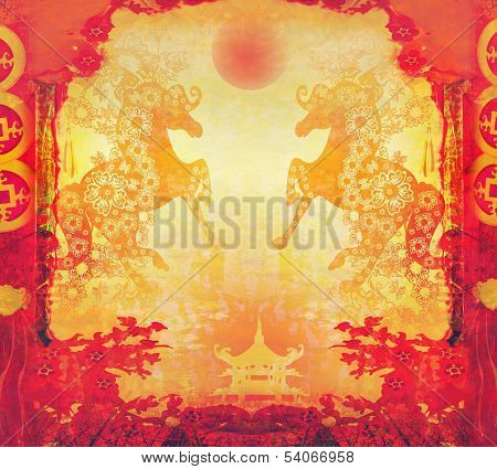Year of Horse graphic design card , raster poster