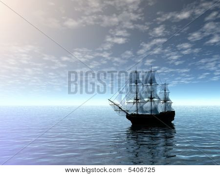Sailing Ship In Sea