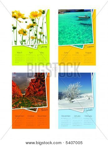 calendar for 2010 for summer winter autumn and spring...all seasons poster