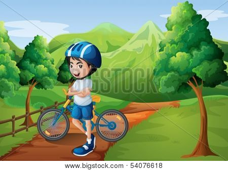 Illustration of a boy standing in the middle of the pathway with his bike