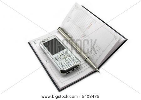 Mobile Organizer And Penmobile Phone Calendar And Pen