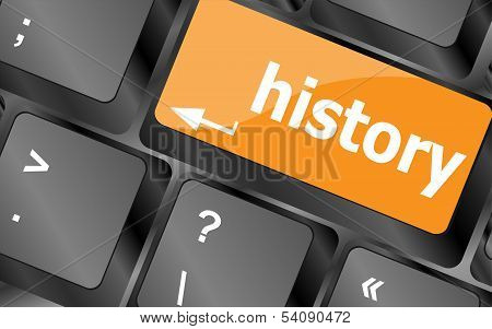 Laptop keyboard and key history on it poster