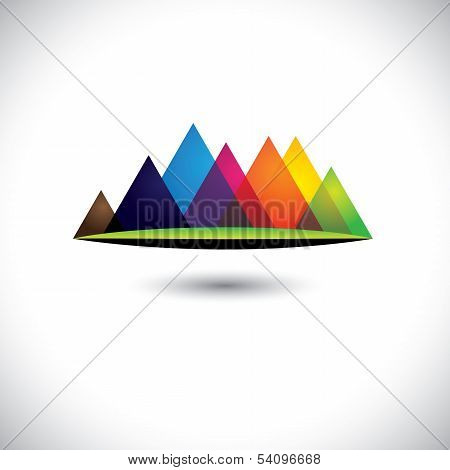 Abstract Colorful Hills & Mountain Ranges & Grassland Icon