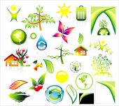 Complete Environment ans recycle Icon set and Business card background with high constrast colors poster
