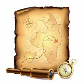 Pirates treasure map with spyglass and compass vector illustration poster