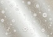 Delicate white flowers and twisted lines on undulating shiny gray background poster