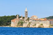 Croatian island of Rab view on city and fortifications Croatia poster