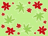 red flowers and green leaves background poster