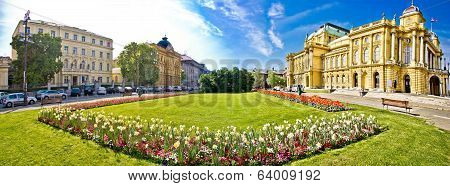 Zagreb theater square panoramic view in Croatia poster