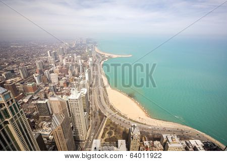 Aerial view of Chicago city and Lake Michigan.