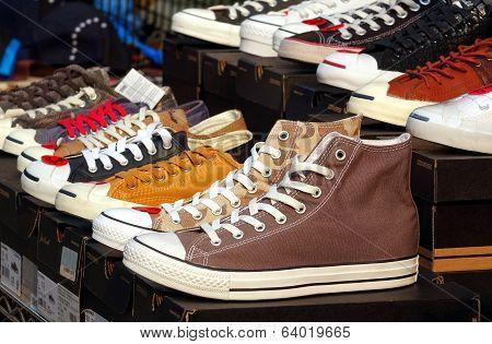 Outdoor Vendor Sells Canvas Shoes