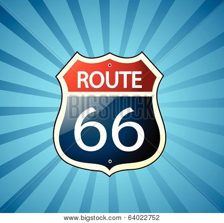 Route 66 sign vector illustration art banner poster