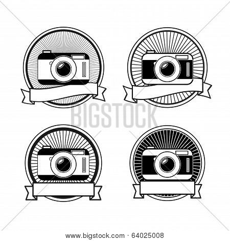 Black and white camera stamps