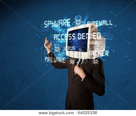 Monitor head person with hacker type of signs on the blue screen poster
