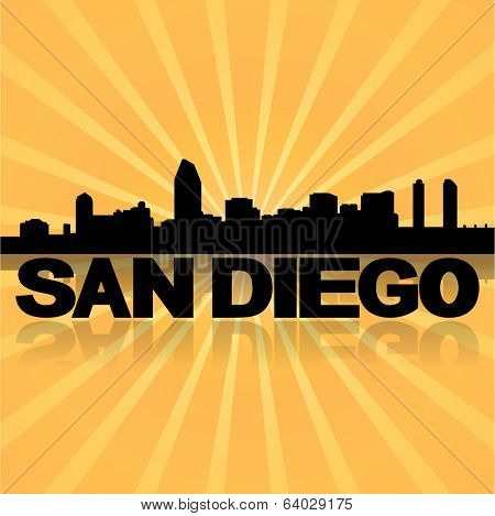 San Diego skyline reflected with sunburst vector illustration