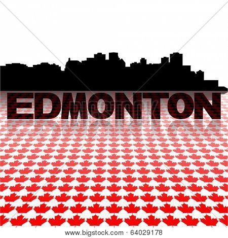 Edmonton skyline with maple leaves foreground vector illustration poster