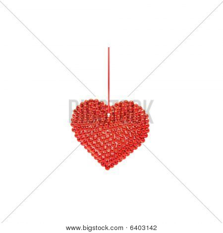 Christmas Heart With Red Ribbon