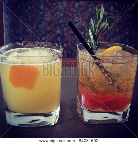 Two Colorful Mixology Cocktails