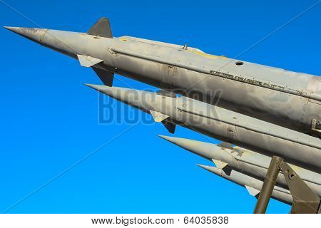 Antiaircraft Rockets Of A Surface-to-air Missile System Are Aimed At The Blue Sky