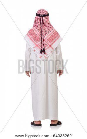 Praying arab man isolated on white