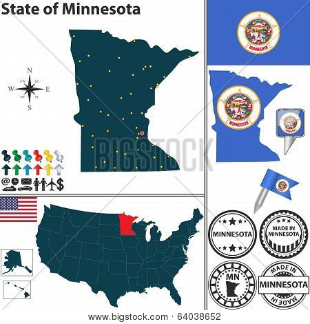 Map Of State Minnesota, Usa