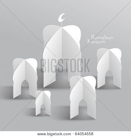Vector 3D Mosque Paper Sculpture. Translation: Ramadan Kareem - May Generosity Bless You During The Holy Month. poster