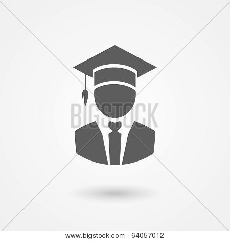 Graduate or professor in a mortarboard hat