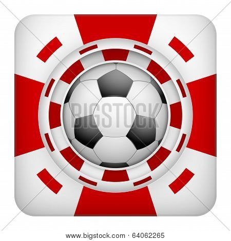 Square red casino chips of soccer sports betting