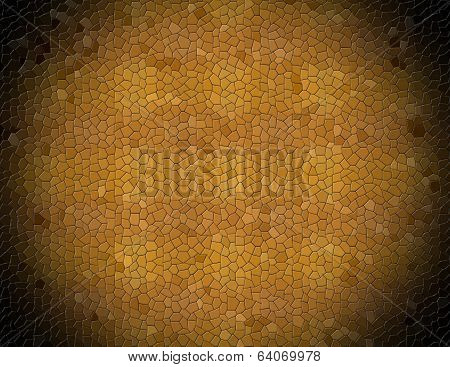 Abstract  yellow brown mosaic imitation animal leather background with black vignette poster
